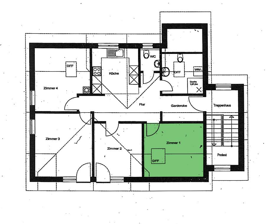 Grundriss - Zimmer 1 - Ferienwohnung im Dorf Gschlachtenbretzingen