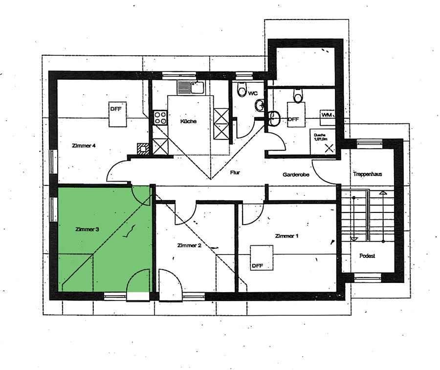Grundriss - Zimmer 3 - Ferienwohnung im Dorf Gschlachtenbretzingen